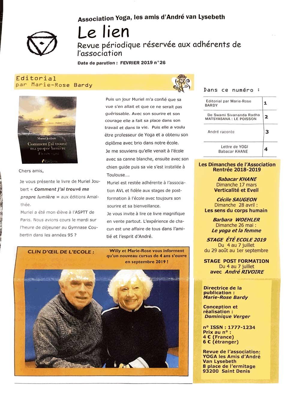 Article de Presse de Muriel Joubert dans le lien EYVL