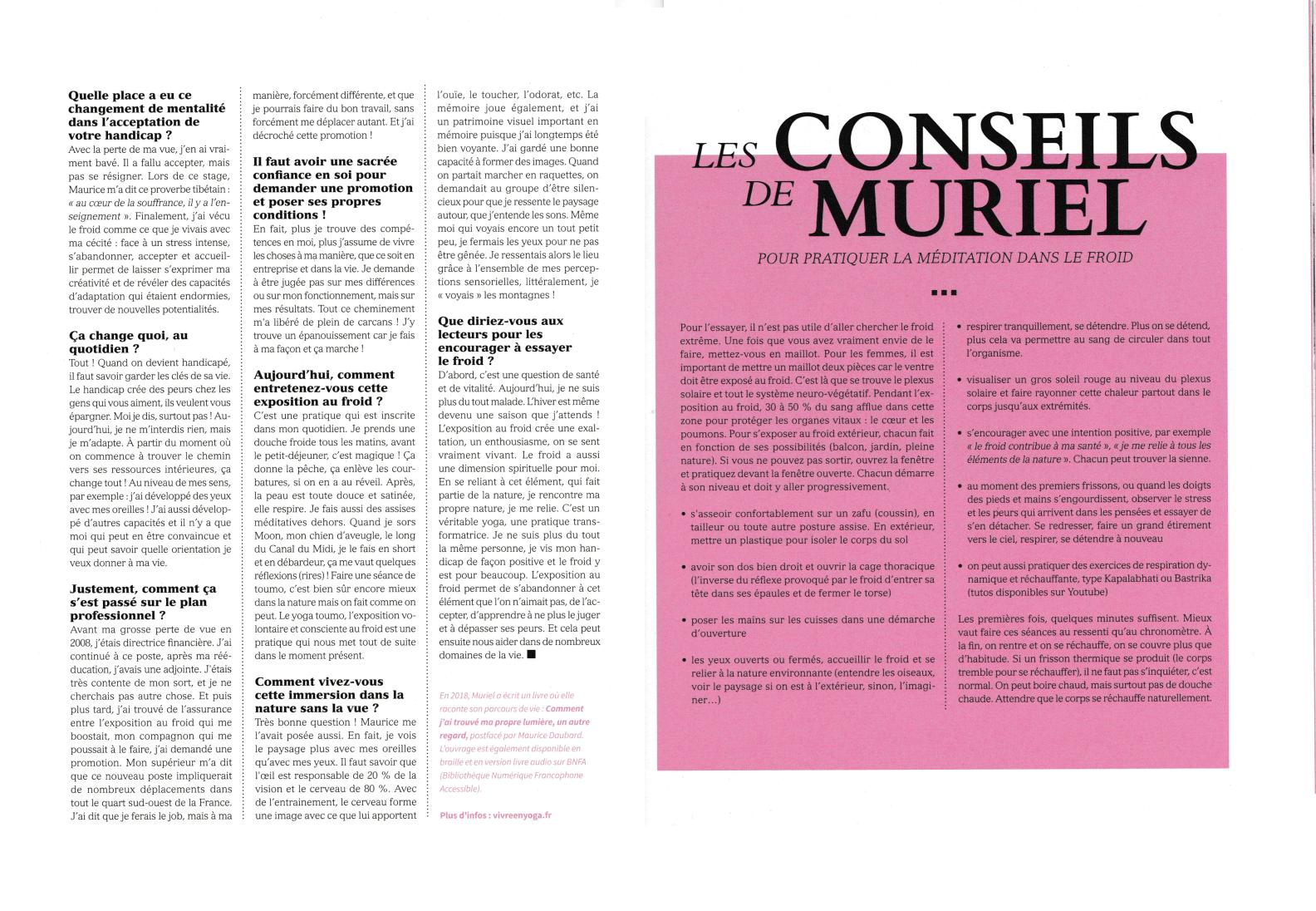 Interview de Muriel Joubert dans le magazine Régénère sur le Yoga Toumo